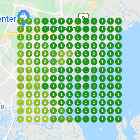 GeoGrid Rankings for a local service area or brick-and-mortar business in the Google Local 3 Pack